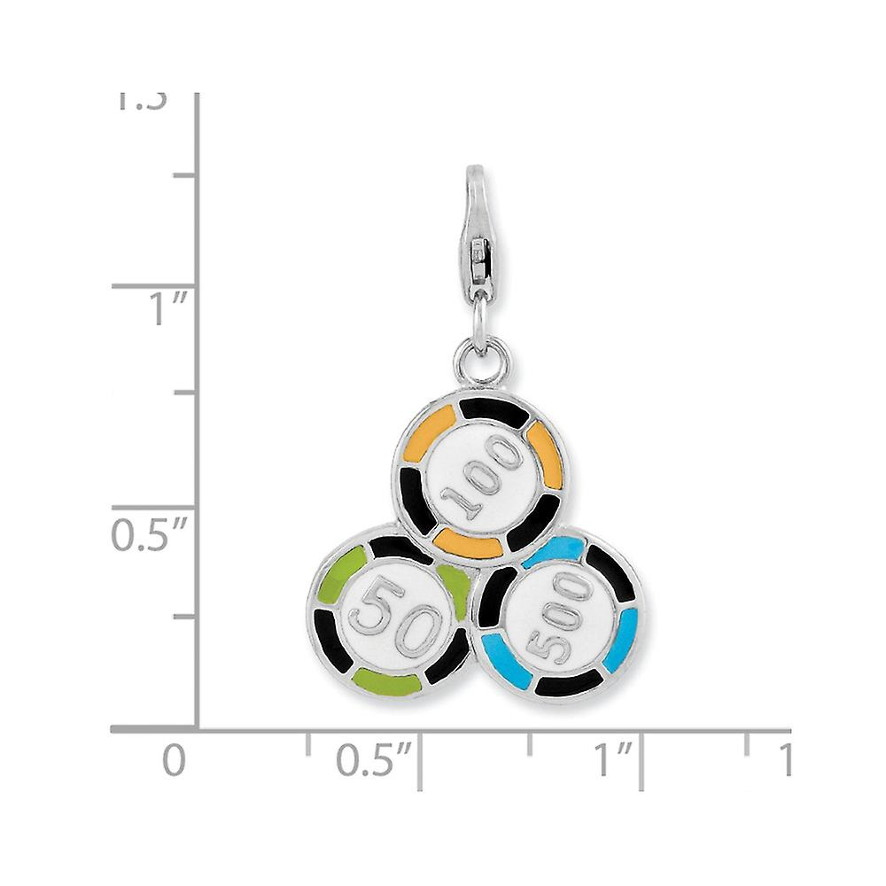 925 Sterling Silver Rhodium plated Fancy Lobster Closure Enameled Casino Chips With Lobster Clasp Charm Pendant Necklace