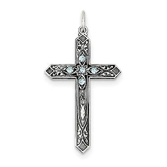 925 sterling silver Flat tillbaka antik finish syntetisk marsch Cross charm