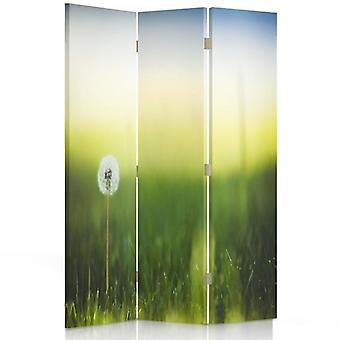 Raumteiler, 3 Paneele, doppelseitig, 360 ° drehbar, Leinwand, Löwenzahn In grünem Gras