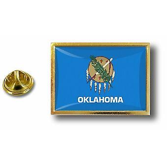 باين بينس شارة دبوس أبوس؛ معدن مع فراشة فرشاة العلم الولايات المتحدة الأمريكية أوكلاهوما