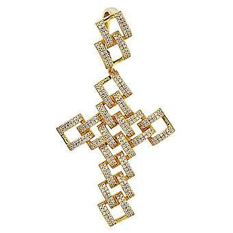 925 Sterling Silver Micro Pave Pendant - SKELETON CROSS gd
