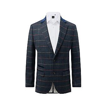 Dobell Mens Blue Tweed Jacket Regular Fit Windowpane Check Velvet Trims