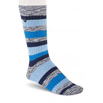 Birkenstock Herren Baumwolle Slub Socken Streifen 1015067 Jeans Melange