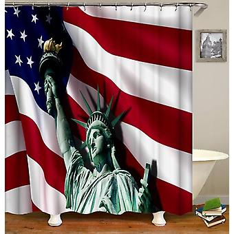 Statue Of Liberty Ft The American Flag Shower Curtain