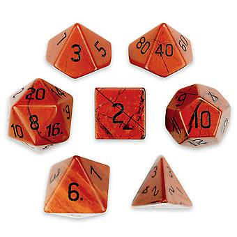 Set of 7 Handmade Stone Polyhedral Dice, Red Jasper