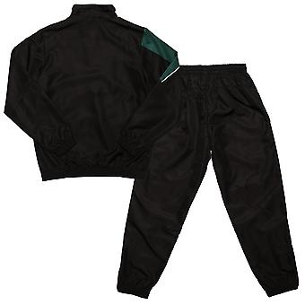 Junior Boys Umbro Division Lined Tracksuit In Black Green- Jacket:- Zip