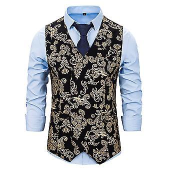 Alle Themen Men's Mode wunderschöne vergoldete gemusterte V-Ausschnitt Blazer
