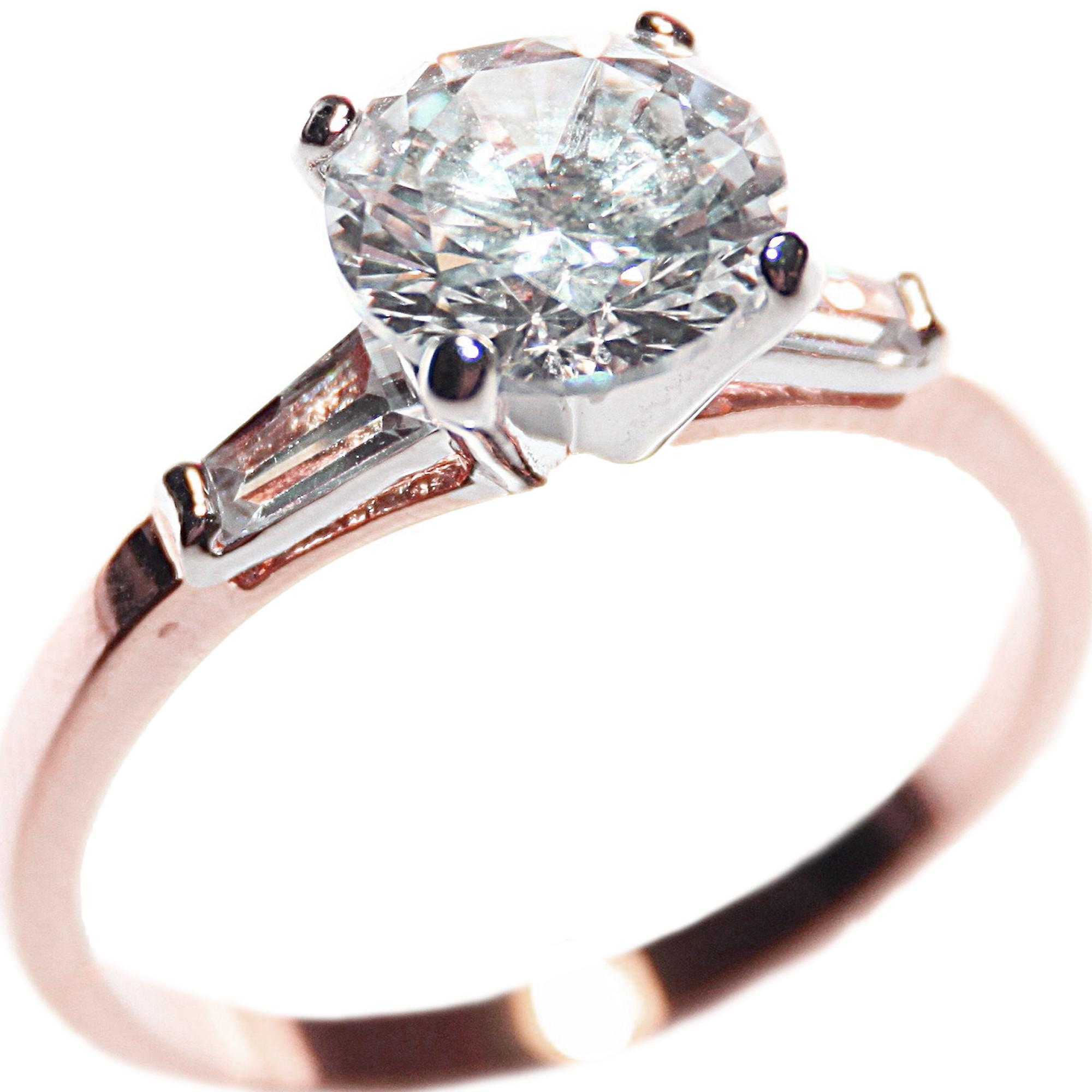 Ah! Jewellery 4.00ct Ladies Two Tone Sparkling Simulated Diamond Ring. Rose & White Gold Filled.