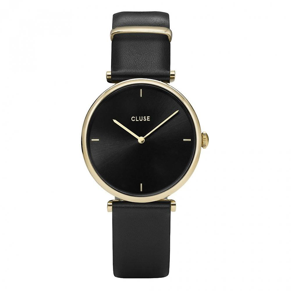 Cluse Cl61006 Triomphe Gold And Black Leather Watch
