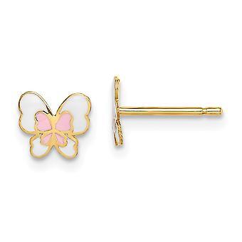 14k Madi K Enamel Butterfly Angel Wings Post Earrings Jewelry Gifts for Women - .4 Grams