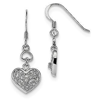 11.25mm 925 Sterling Silver Rhodium plaqué Diamond Love Heart Shepherd Hook Boucles d'oreilles Bijoux Cadeaux pour les femmes