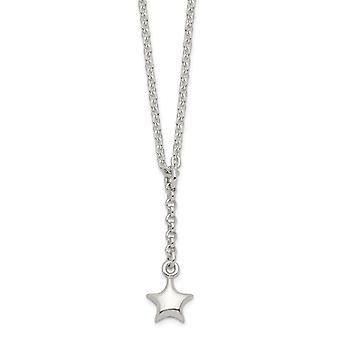 925 Sterling Silver Polished Star Drop Pendant Necklace 16 Inch Jewelry Gifts for Women - 2.8 Grams