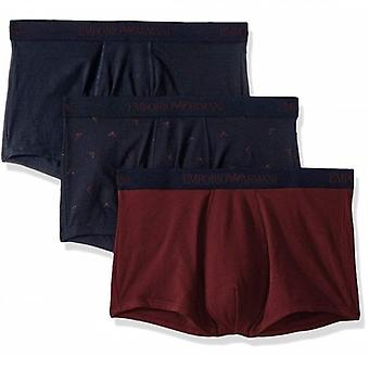 Emporio Armani Three Pack Boxer Trunks Navy & Burgundy 111625 9A722