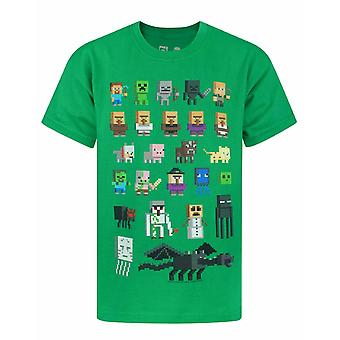 Minecraft Sprites Boys Kids Green Characters Short Sleeved T-shirt