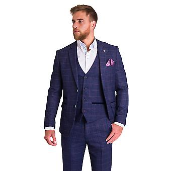 Marc Darcy Harry Indigo Check Tweed Suit Blazer