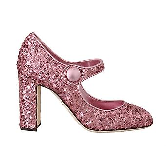 Dolce & Gabbana Pink Sequined Mary Janes Shoes