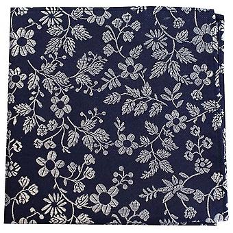 David Van Hagen Flowers Silk Pocket Square - Fuchsia Pink/White