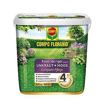 COMPO Floranid® lawn fertilizer against weeds + moss complete care, 9 kg