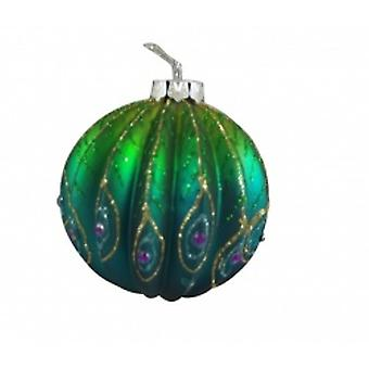 Gisela Graham Glitter Decorated Glass Bauble Christmas Decoration