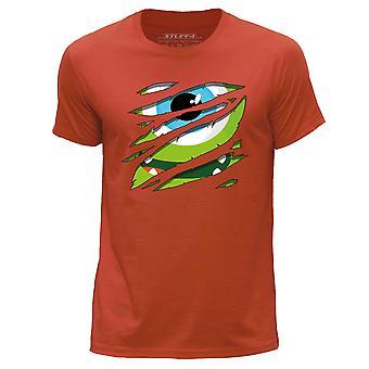 STUFF4 Men's Round Neck T-Shirt/Large Rip/Green Monster/Orange