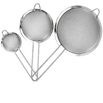 3x Fine Mesh Colander Set - Sizes 7 Cm / 12cm / 18cm With Handles - Practical Indispensable Sieve 3 Sizes Infinite Uses !