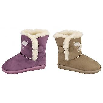 Spot On Childrens Girls Butterfly Design Faux Fur Lined Short Boots