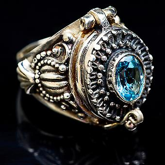 Large Poison Blue Topaz Ring Size 7.5 (925 Sterling Silver)  - Handmade Boho Vintage Jewelry RING3530