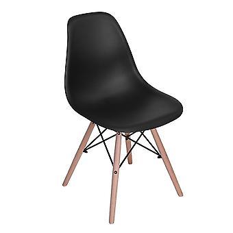Wood4you - DSW schwarzer Essstuhl - Pariso - Low - Sitzhöhe: 41 cm - 2 Stück