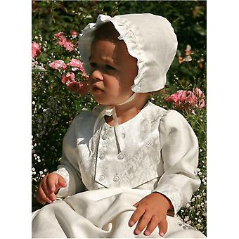 Christening Gown For Boys,  Grace Of Sweden, With Shiny Brocade Vest And Bonnet