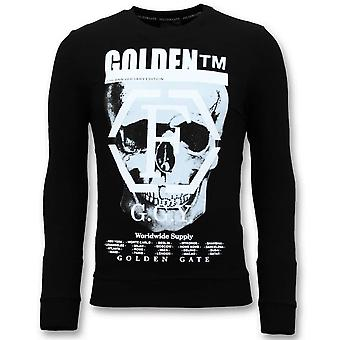 Sweater With Print - Skull -7319 -Black