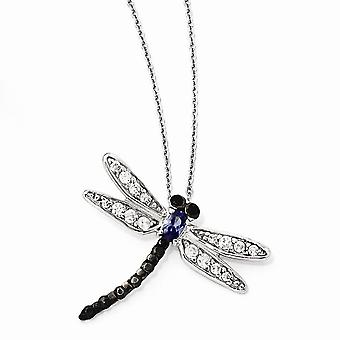 925 Sterling Silver Rhodium plated Fancy Lobster Closure White Black and Tanzanite CZ Cubic Zirconia Simulated Diamond D