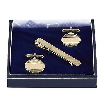 Orton West texturiert Manschettenknöpfe und Krawattennadel Set - Gold