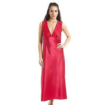 Camille Luxury Red Lace Satin Chemise