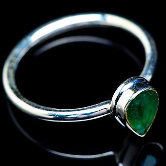 Zambian Emerald Ring Size 10.25 (925 Sterling Silver)  - Handmade Boho Vintage Jewelry RING5844