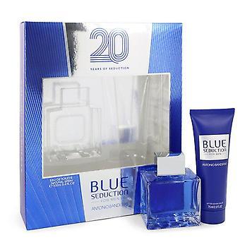 Blue Seduction Gift Set por Antonio Banderas 3,4 oz Eau DE toilette spray + 2,5 oz após barba bálsamo