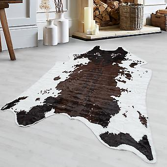 Cowhide Rug High Quality Faux Leather imitation Washable Non-Slip Brown Cream