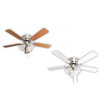 Ceiling fan Kisa Deluxe BN White / Maple with lights