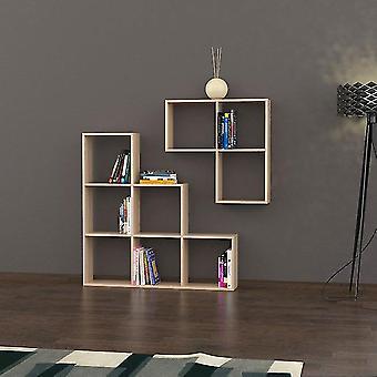 Libreria Portion Colore Rovere in Truciolare Melaminico, Mensola Grande L120xP20xA120 cm, Piccolo Mensola L79xP20xA79 cm