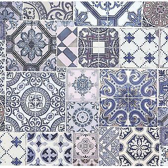 Carrelage marocain effet Collage papier peint ornements bleu blanc pâte le mur P + S