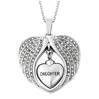 White Crystal Daughter Angel Wing Heart Memorial Pendant with Chain in Steel TJC