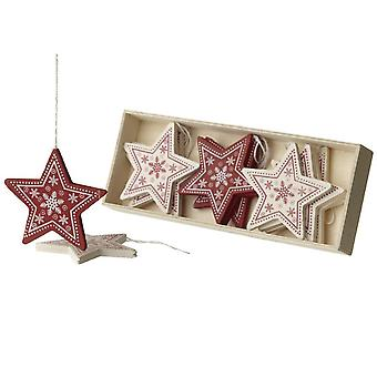 Wooden Red and Cream Stars in a box Christmas Decorations Pack of 12