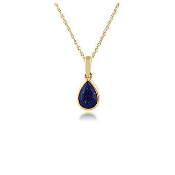 Classic Pear Lapis Lazuli Pendant Necklace in 9ct Yellow Gold 135P1567029