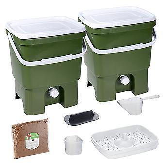 Skaza Bokashi Organko 2 keittiökompostisäiliöt kierrätettyä muovia | | 2 x 16 l | Aloittelija asettaa keittiöjätteet ja kompostointi | kanssa ME sadetus 1 kg l oliivinvihreä