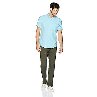 Goodthreads Men's Standard-Fit Short-sleeve Solid Oxford Camicia w/Pocket, Turq...