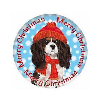 King Charles Spaniel Round Metal Christmas Sign