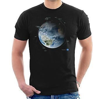 NASA satelliet baan paden T-Shirt voor mannen