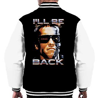 The Terminator Arnie Close Up Glasses Ill Be Back Men's Varsity Jacket