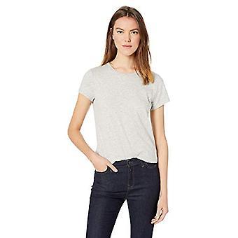 Brand - Daily Ritual Women's Lived-in Cotton Slub Short-Sleeve Crew Neck T-Shirt, Light Heather Grey, Small