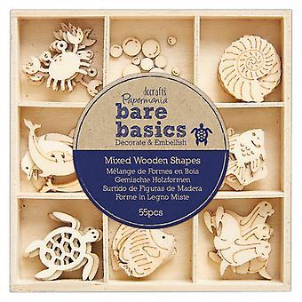 Papermania Bare Basics Wooden Shapes Under the Sea (45pcs) (PMA 174743)