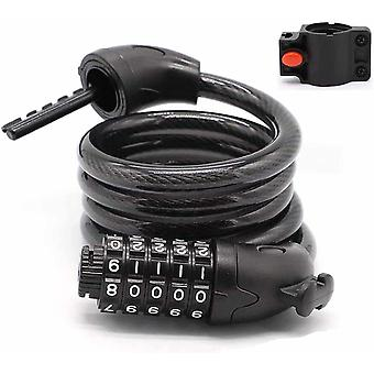 Combination Cable Security Lock for Electric Scooter or Bicycle (BLACK)